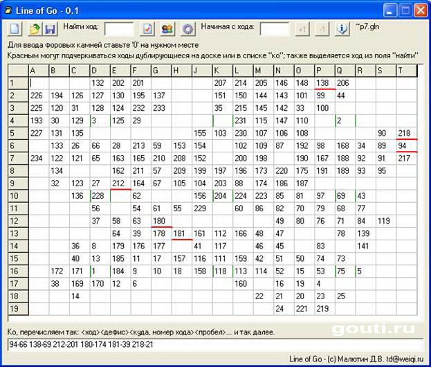 Внешний вид программы Line of Go для быстрого набора партий с диаграмм. Красным подчеркнуты повторяющиеся ходы.