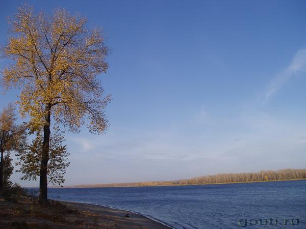 Осень сжигает леса над рекой.
